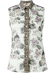 Fay Sleeveless Floral Print Shirt Nude And Neutrals