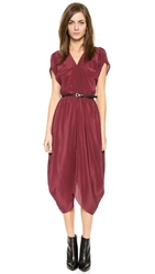 Myne V Neck Midi Dress With Belt Burgundy