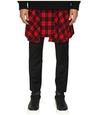 D.Gnak Pants With Detachable Wrap Check Skirt Black Red