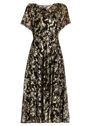 Valentino Boat Neck Floral Fil Coupe Silk Blend Dress Black Gold
