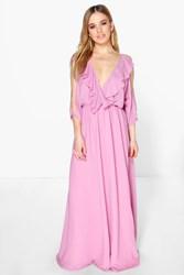 Boohoo Elle Ruffle Cold Shoulder Maxi Dress Pink