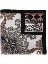 Etro Abstract Print Pocket Square Black
