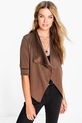 Boohoo Crop Waterfall Jacket Mocha