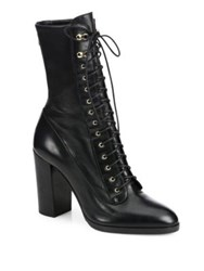 Sergio Rossi Changeling Leather Lace Up Block Heel Booties Black