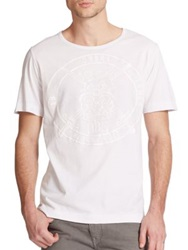 Diesel Black Gold Coated Leather Military Crest Tee White