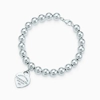 Tiffany And Co. Return To Tiffanytm Small Heart Tag In Sterling Silver On A Bead Bracelet.