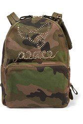 Valentino Leather Trimmed Camouflage Print Canvas Backpack Army Green