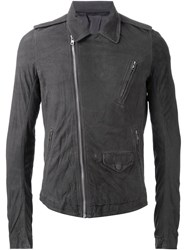 Rick Owens Zipped Biker Jacket Grey