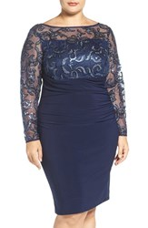 Marina Plus Size Women's Sequin Illusion And Jersey Side Ruched Sheath Dress