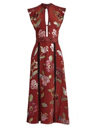 Burberry Floral Fil Coupe Silk Crepe De Chine Gown Red Multi