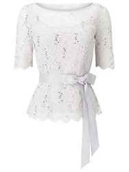 Jacques Vert Delicate Corded Lace Top Grey