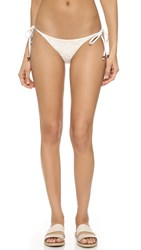 Blue Life Embroidered Tie Side Bikini Bottoms White Sands