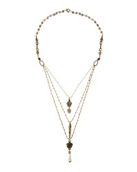 Love Heals Long Layered Labradorite And Pearl Beaded Necklace Grey