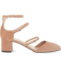 Whistles Montana Mid Heel Mary Jane Suede Sandals Nude