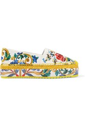Dolce And Gabbana Printed Brocade Platform Espadrilles Yellow