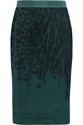 By Malene Birger Anissas Printed Stretch Tulle And Satin Jersey Skirt Green
