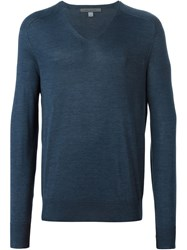 John Varvatos V Neck Sweater Blue