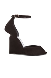 Pierre Hardy Arp Suede Cutout Wedge Sandals In Black