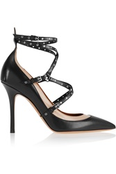 Valentino Love Latch Eyelet Embellished Leather Pumps