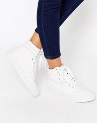 Asos Duke Lace Up High Top Trainers White