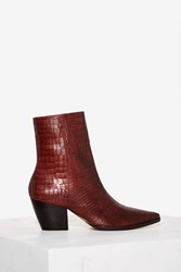 Matisse Caty Python Leather Boot Burgundy