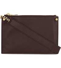 Sandro Alba Leather Cross Body Bag Bordeaux