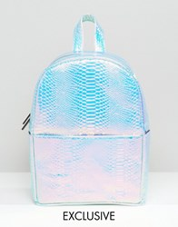 Skinnydip Exclusive Holographic Faux Snake Backpack Silver
