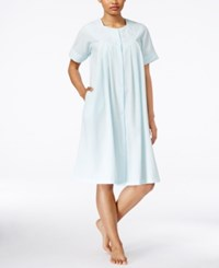Miss Elaine Embroidered Short Sleeve Gripper Robe Turquoise