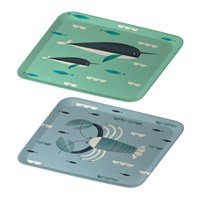 Magpie Ahoy Tray Set Of 2 Narwhal And Lobster