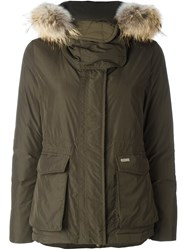 Woolrich 'W's Short Military' Parka Coat Green