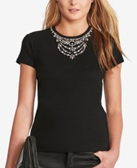 Polo Ralph Lauren Jeweled Neckline T Shirt Black