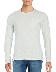 Selected Heathered Cotton Blend Long Sleeve Tee Snow White