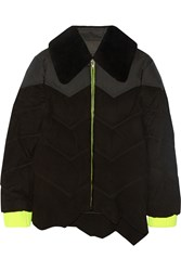 Alexander Wang Asymmetric Shearling Trimmed Padded Suede Jacket Black