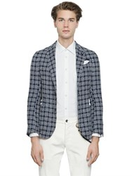 Lardini Cotton And Linen Blend Checked Jacket