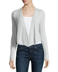 Minnie Rose Cashmere Cable Knit Open Cardigan Gris Clair