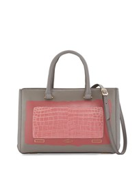 Vbh Pandora Demi Vitello And Crocodile Small Tote Bag Gray Pink Grey Pink