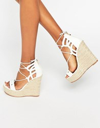 Daisy Street Tie Up Wedge Espadrilles White