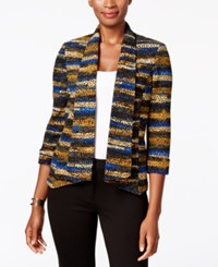 Kasper Printed Open Front Jacket Electric Blue Multi