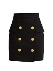 Balmain Six Button Pique Mini Skirt Black