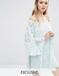 Reclaimed Vintage Off Shoulder Dress In Lace Mint