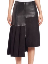 Sportmax Kim Leather And Suede Asymmetrical Skirt Black