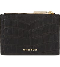 Whistles Crocodile Embossed Leather Pouch Black