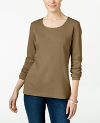 Karen Scott Long Sleeve Scoop Neck Top Only At Macy's Suede