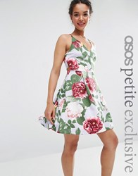 Asos Petite Strappy Prom Dress In Floral Print Multi