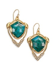 Alexis Bittar Miss Havisham Mosaic Chrysocolla And Crystal Snake Chain Drop Earrings Gold Turquoise