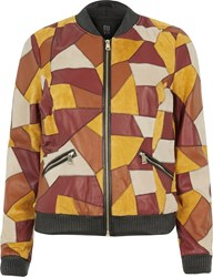 River Island Womens Light Brown Suede Patchwork Bomber Jacket