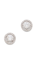 Kenneth Jay Lane Round Floating Stud Earrings Clear
