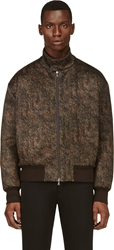 Neil Barrett Brown Bear Fur Print Bomber Jacket