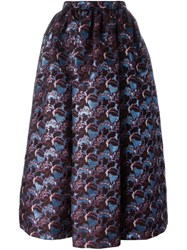 Msgm Floral Pattern Full Skirt Blue
