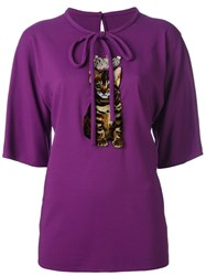 Dolce And Gabbana Kitty Patch Blouse Pink And Purple